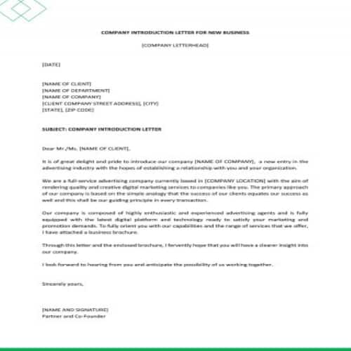 New Company Introduction Letter from bestytemplates.com