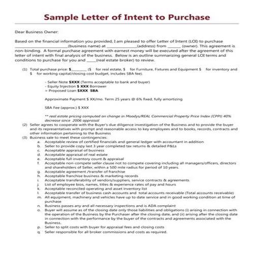 Letter Of Intent To Purchase Business Template from bestytemplates.com